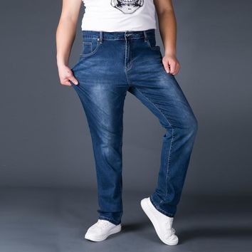 Jeans Man Middle-aged Denim Jeans Casual Middle Waist Loose Long Pants Male Solid Straight Jeans For Men Classical Size 42 44