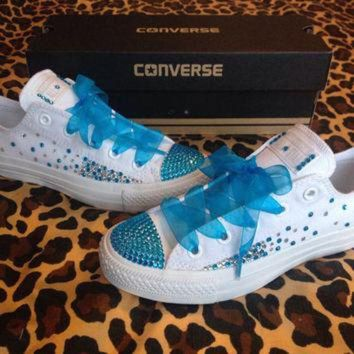 CREYUG7 Full Rhinestone Ombre Converse with Ribbon Shoelaces