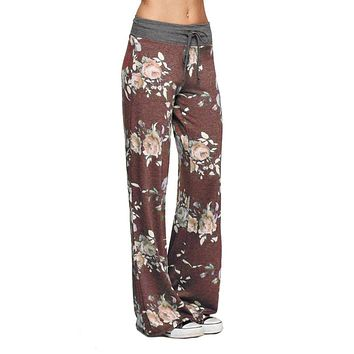 Burgundy Roses Casual Lounge Pants