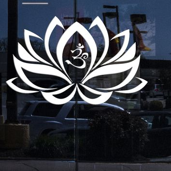 window Sign Vinyl Decal Wall Sticker Lotus Flower Om Yoga Buddha Decoration Unique Gift (M658w)