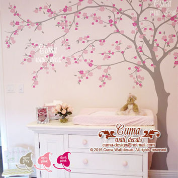 cherry blossom wall decal wall decals flower vinyl wall decals wall muralwall sticker nursery- flower tree Z705 cuma cherry blossom wall de