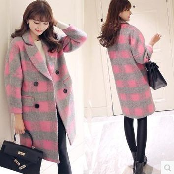 coats women spring autumn winter 2017 feminina cocoon type plaid cute sweet cloth double-breasted long coat female Q0081