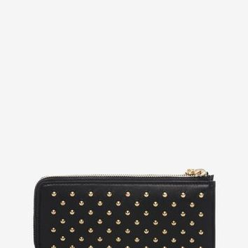 Black Nappa Leather Studded Continental Wallet | Alexander McQueen