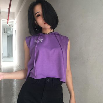Women Loose Casual Letter Print Sleeveless T-shirt Hooded Short Sweater Tops