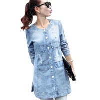 2016 New Style Women Coats O-Neck Long Sleeve Letter Ripped Denim Long Trench Coat Frayed Plus Size 4XL Women Coat TB604