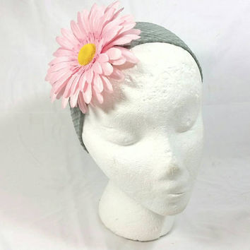Pink Daisy Flower Wide Gray Cloth Headband/Fashion Floral Headband
