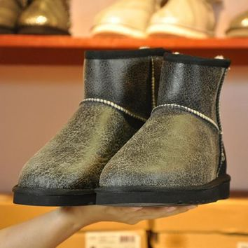 UGG Man Fashion Edgy Wool Fur Flats Snow Boots