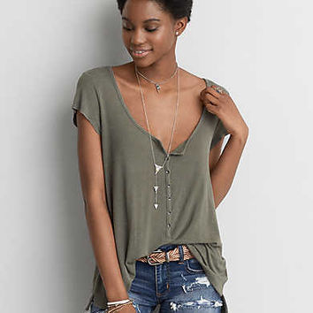 AEO Soft & Sexy Henley T-Shirt , Dusty Olive
