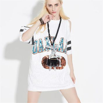 2016 New Women T shirts Number Print T-shirt Woman O-neck Top Short Sleeve Sequined Bling Long Female Plus Size t shirt 72123