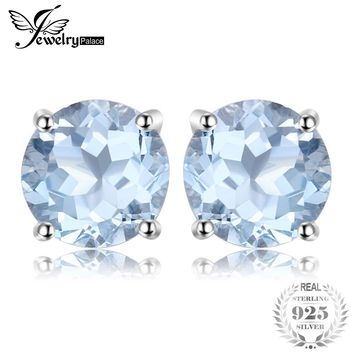 Round 2ct Natural Sky Blue Topaz Stud Earrings Genuine  925 Sterling Silver