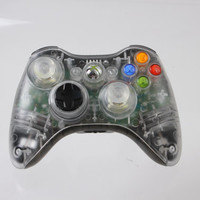 Transparent Custom Xbox 360 Controller featuring Black add-ons.