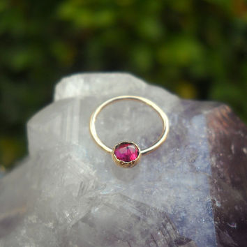 Garnet Septum Ring/Nose ring 14K Yellow Gold Filled Handcrafted