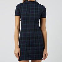Green High Neck Tartan Check Bodycon Dress