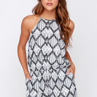 The Fifth Label Behind the Sun Grey Print Romper