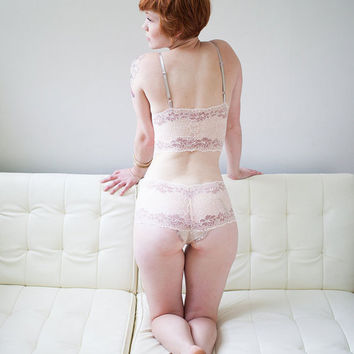 READY TO SHIP - Small - Champagne Lace Panty - 'Forget Me Not' Style - Womens Lingerie