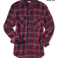 Aeropostale  Womens Long Sleeve Graphic Plaid Woven Shirt