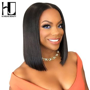 Short Lace Front Human Hair Wigs Brazilian Remy Hair Bob Wig with Pre Plucked Hairline