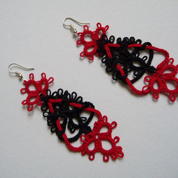 "Tatting earrings ""Stendal ""- handmade jewelry - lace earrings - Bridesmaid - OOAK - Wedding -gift for birthday"