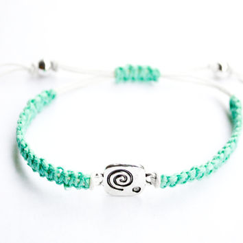 Spiral Teal and White Bracelet