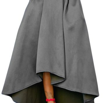 Grey High-Low Hem Maxi Prom Skirt