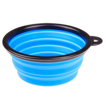 Portable Silicone Pets Bowls Dogs Cats Bowls Pet Supplies Dog Accessories- Blue