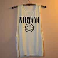 Nirvana Shirt Muscle Tee Tank Top TShirt T Shirt Top Women - size S M L