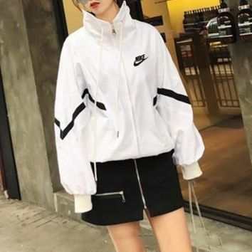 Adidas Women Loose Casual Multicolor Stripe Long Sleeve Zip Cardigan Jacket Baseball Clothes Coat