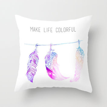 triple feathers Throw Pillow by deppo