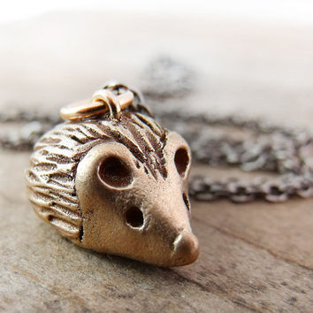 Bronze Hedgehog necklace  woodland creature by lulubugjewelry