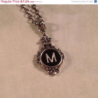"SALE SALE - Typewriter Key Inspired Charm Necklace - Initial ""M"" - Silver Plated - By Initially Charmed"