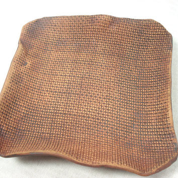 Ceramic Burlap Dish, Burlap Pottery, Burlap Trinket Dish, Coin Caddy, Burlap Candle Holder, Burlap Plate, Brown Pottery, Pocket Change Dish