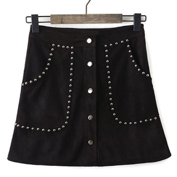 Black Faux Suede Button Up Studs Skirt