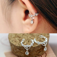 New 1PCS Punk Hanging Hollow Drill Ear Cuff Rhinestone Cartilage Clip On Earring (With Thanksgiving&Christmas Gift Box)= 1705917892