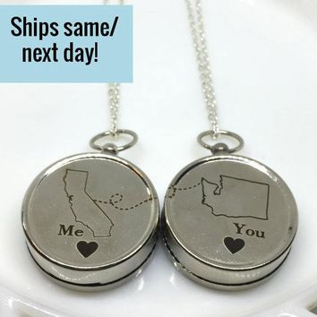 Engraved Compass, Long Distance Friendship, Long Distance Relationship, State or Country, Custom Engraved Compass, Deployment Necklace
