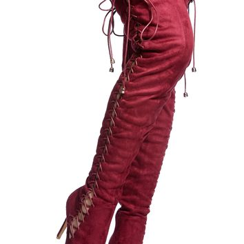 Wine Faux Suede Thigh High Lace Up Boots @ Cicihot Boots Catalog:women's winter boots,leather thigh high boots,black platform knee high boots,over the knee boots,Go Go boots,cowgirl boots,gladiator boots,womens dress boots,skirt boots.