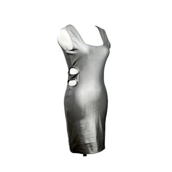 1980s dress / 80s cut out dress / bodycon / mini dress / metallic dress / gray / side cut out dress / tank dress / size M L
