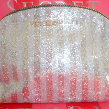 Victoria's Secret Sliver Glitter Stripe Cosmetic Case Makeup Bag Medium ~Sold Out
