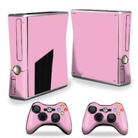 Mightyskins Protective Vinyl Skin Decal Cover for Microsoft Xbox 360 S Slim + 2 Controller skins wrap sticker skins Glossy Pink