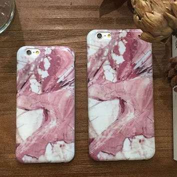 Unique Pink White Marble Stone Case for iPhone 5s 5se 6 6s Plus Gift 321