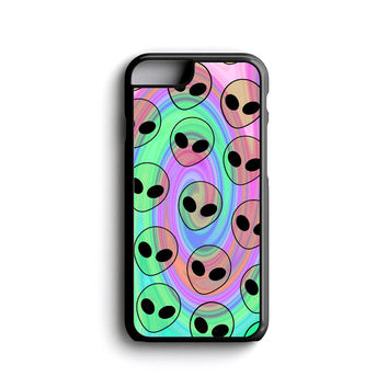 iPhone case Psychedelic Alien Pattern iPhone 4, iPhone 5, iPhone 5c, iPhone 6, iPhone 6 Plus with FREE iPhone Temper Glass Screen Protector