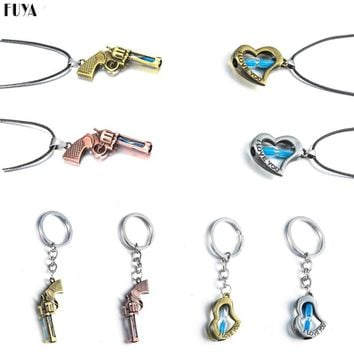 Unique gun colt weapon shaped pendant necklace jewelry Trendy love heart hourglass rope chain keychain trinket jewelery toka