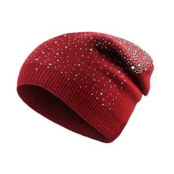 Soft Knitted Bling Rhinestones Hats For Women 2017 Winter Caps Skullies Beanies Thick Warm Hedging Caps Gorro Bonnet Femme