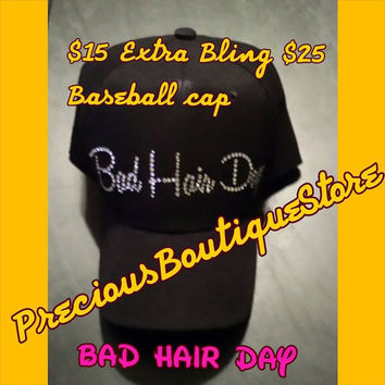 Bad Hair Day Rhinestone Baseball Cap