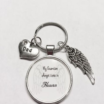Dad My Guardian Angel Lives In Heaven Memory Wing Sympathy Gift Keychain