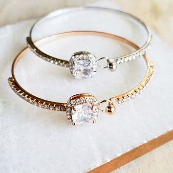 Princess Cut Crystal Bracelet