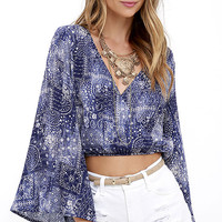 Painted Winds Blue Print Crop Top