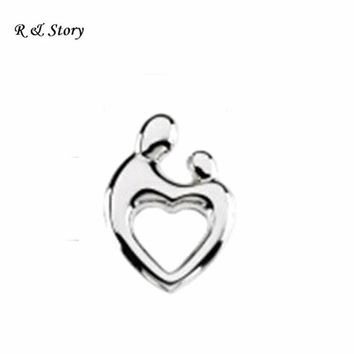 Silver Mom and Baby heart floating charms for floating lockets mather's day LFC_1722