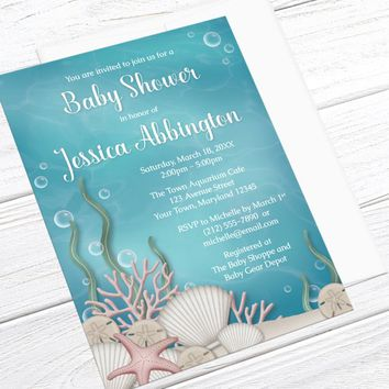 Under the Sea Baby Shower Invitation - Whimsical Turquoise Underwater for Aquarium Shower or Under the Sea theme Shower - Printed Invitation