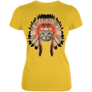 CREYCY8 Thanksgiving Funny Cat Native American Juniors Soft T-Shirt