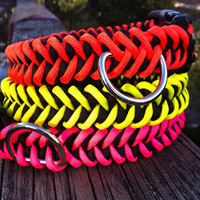 Strong Paracord Dog Collar in a sharktooth weave with D ring attached